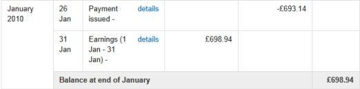 AdSense Earnings Proof 2010