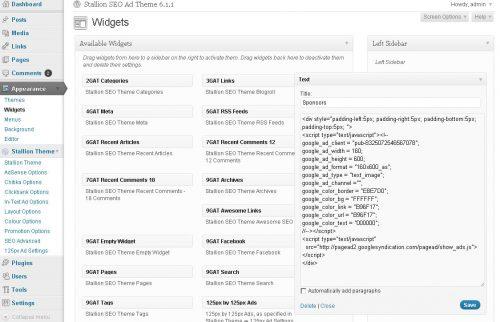 WordPress AdSense widget