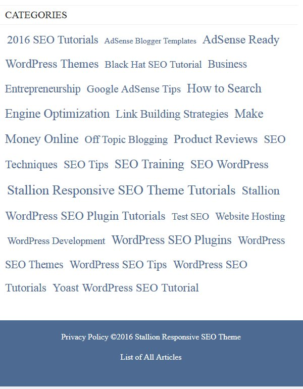 Display Widgets SEO Plus Plugin Category Shown