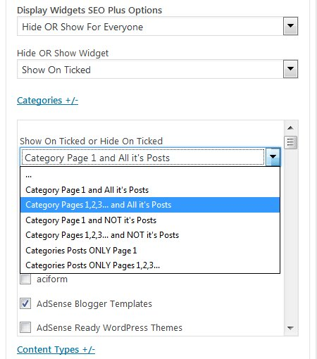 Display Widgets SEO Plus Plugin Show/Hide on Specific Categories
