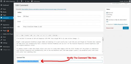Edit WordPress Comment Title