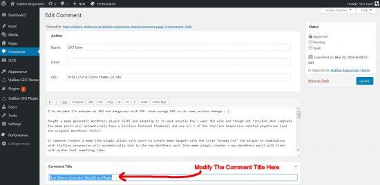 Edit WordPress Comment Title