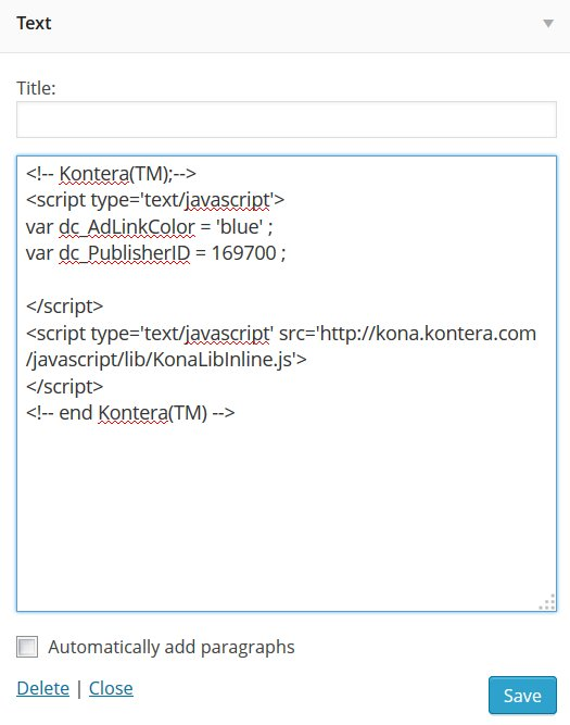 Kontera WordPress Widget