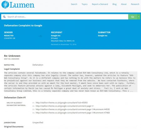 Lumen Defamation Claim to Google