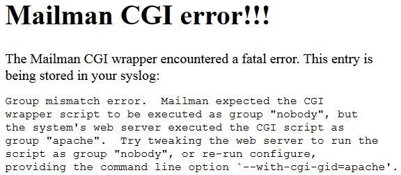 Mailman CGI error