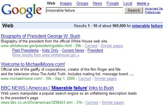 Miserable Failure GoogleBomb