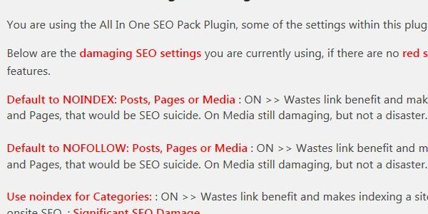 Stallion Responsive All In One SEO Pack Plugin Warnings