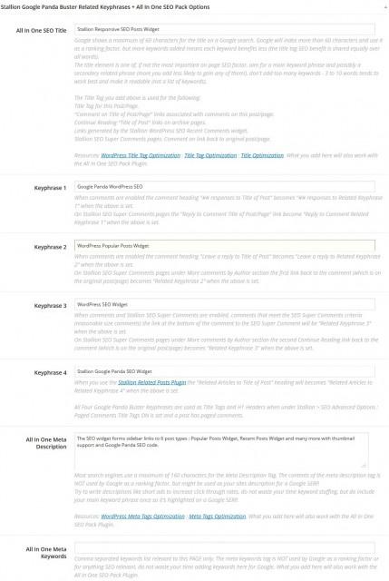 Stallion Google Panda Buster Related Keyphrases + All In One SEO Pack Options