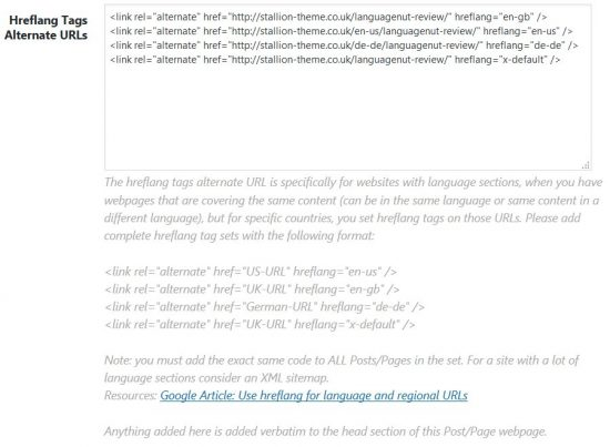 Stallion Hreflang Tags Alternate URLs Metabox