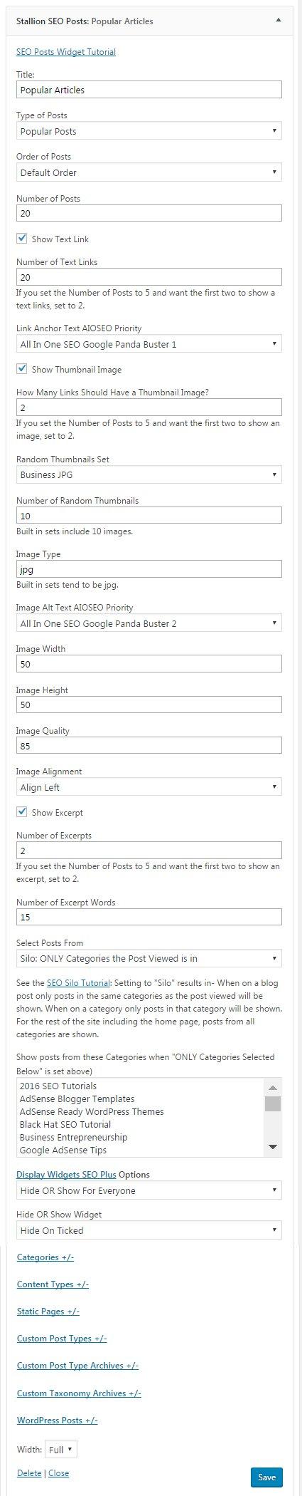 Stallion SEO Posts Widget Silo SEO Widget Logic