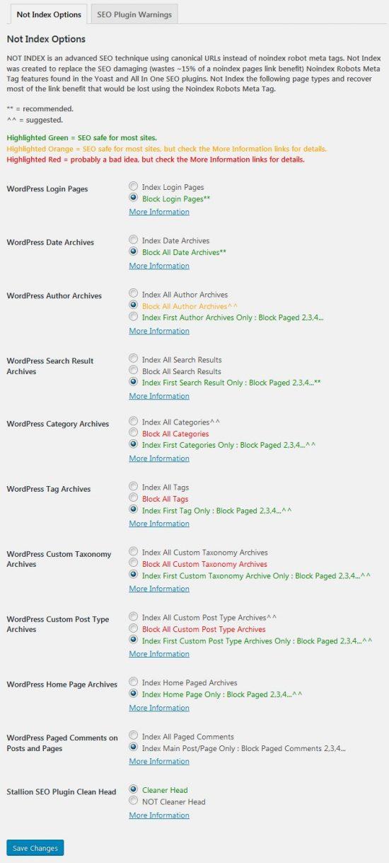 Stallion WordPress SEO Plugin Not Index Options