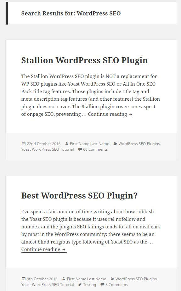 Twenty Sixteen WordPress Theme Search Results Archives