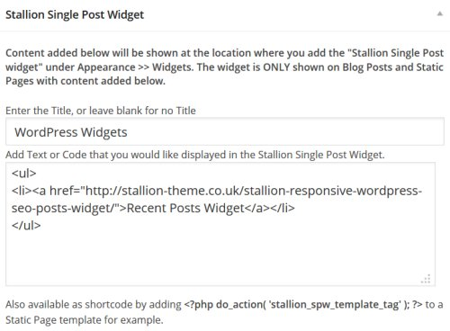 WordPress Widget Code