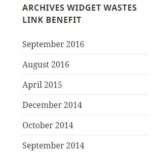 WordPress Archives Widget Wastes Link Benefit