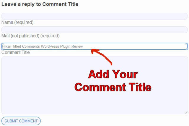 WordPress Comment Form Title