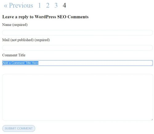 WordPress Comment Title Field