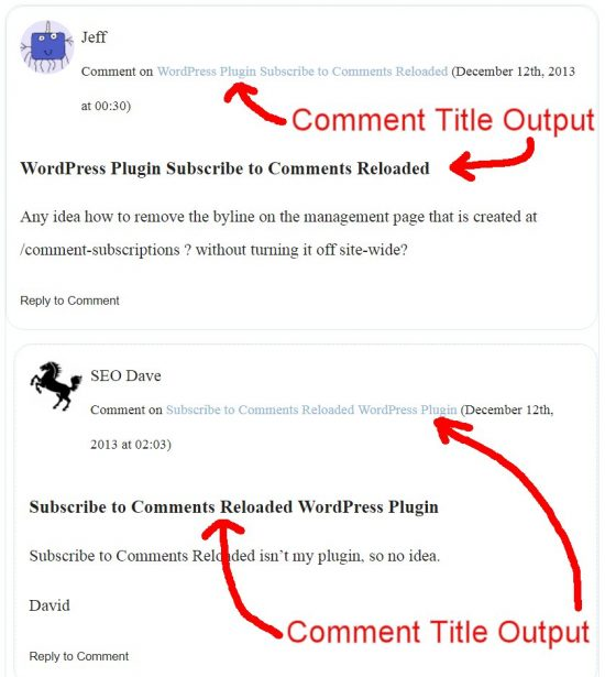 WordPress Comment Titles Output