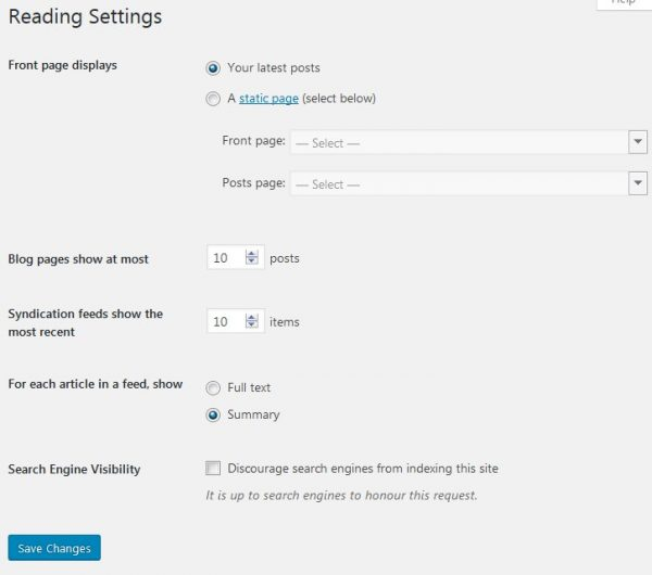 WordPress Reading Settings Home Page Archives
