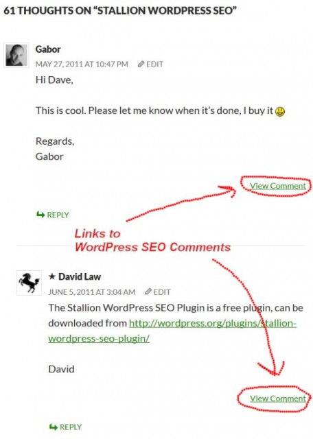 WordPress SEO Comments Links