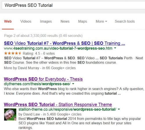 WordPress SEO Tutorial SERP