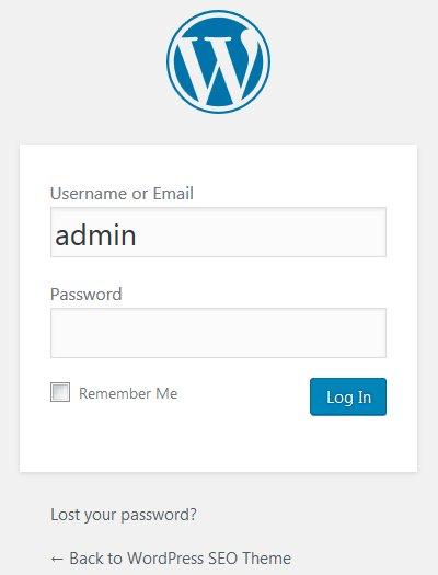WordPress WP Login Page