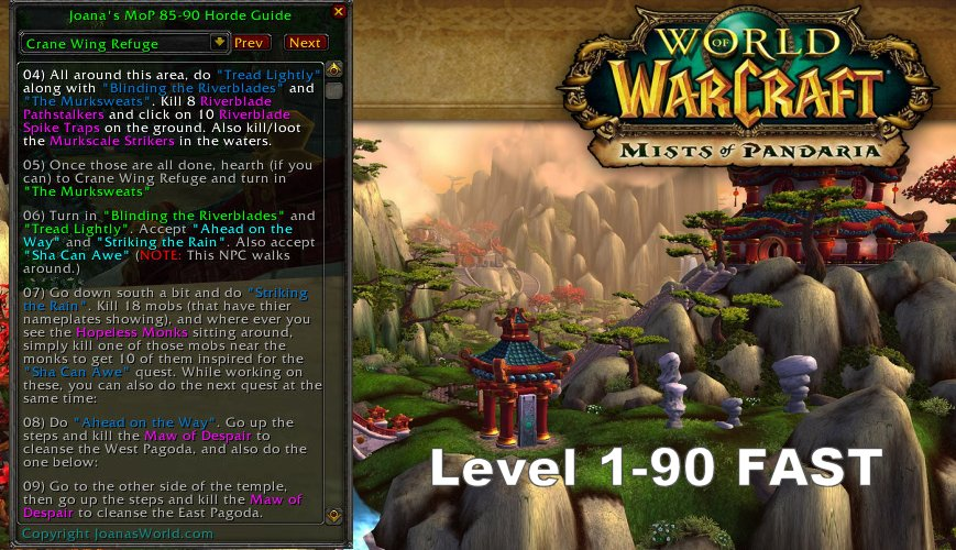 World of Warcraft Mists of Pandaria Leveling