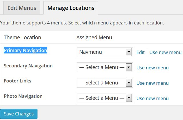 WP Nav Menu Theme Location