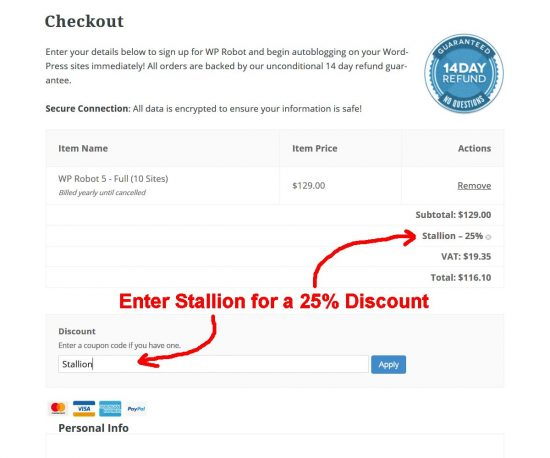 WP Robot 5 Discount Code: Stallion