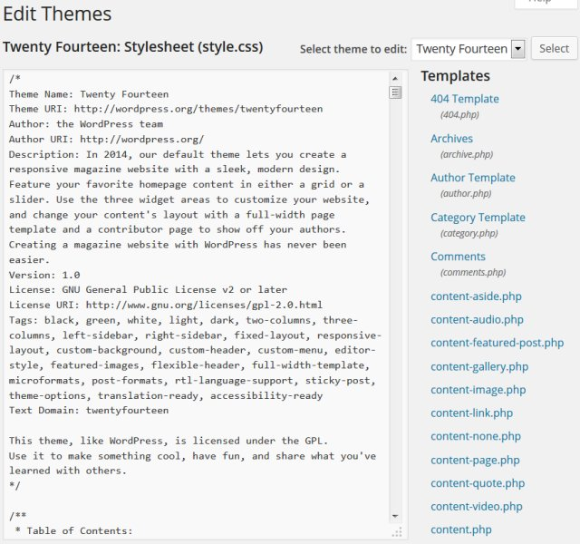 Online WordPress Theme Editor