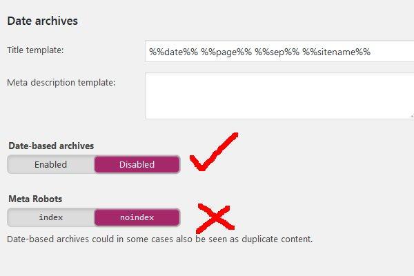 Yoast WordPress SEO Noindex Date Archives
